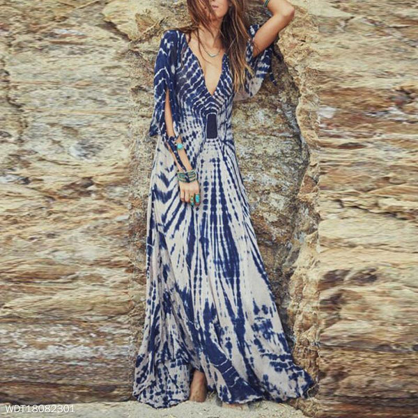 Deep V Gradient Color Lotus Leaf Sleeve Maxi Dress