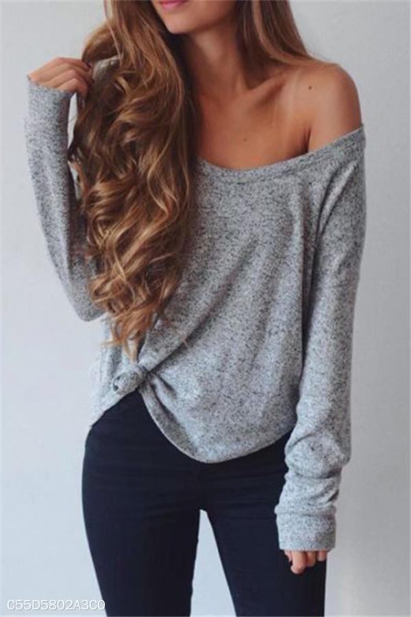 Fashion Casual V Collar Long Sleeve Top