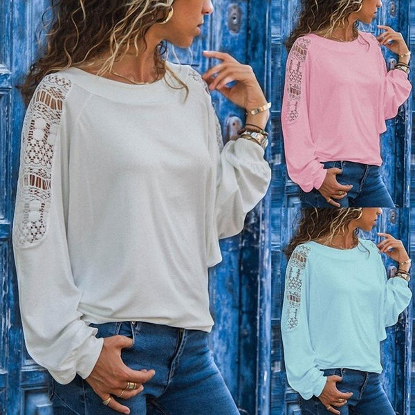 Round Neck Long Sleeve Lace Patchwork T-Shirts