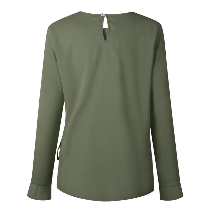 A Long-Sleeved Shirt With A Button Collar