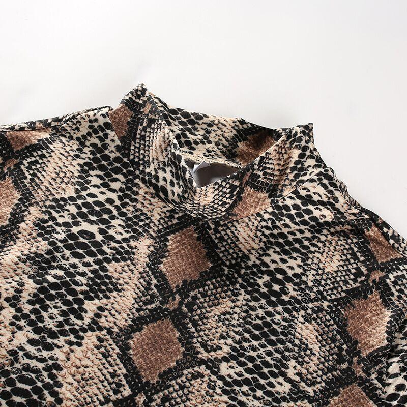 Snake Print Long Sleeve Jumpsuit With High Neck