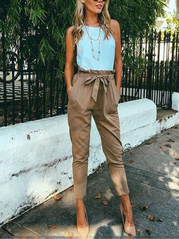 Casual Belt Cropped Trousers