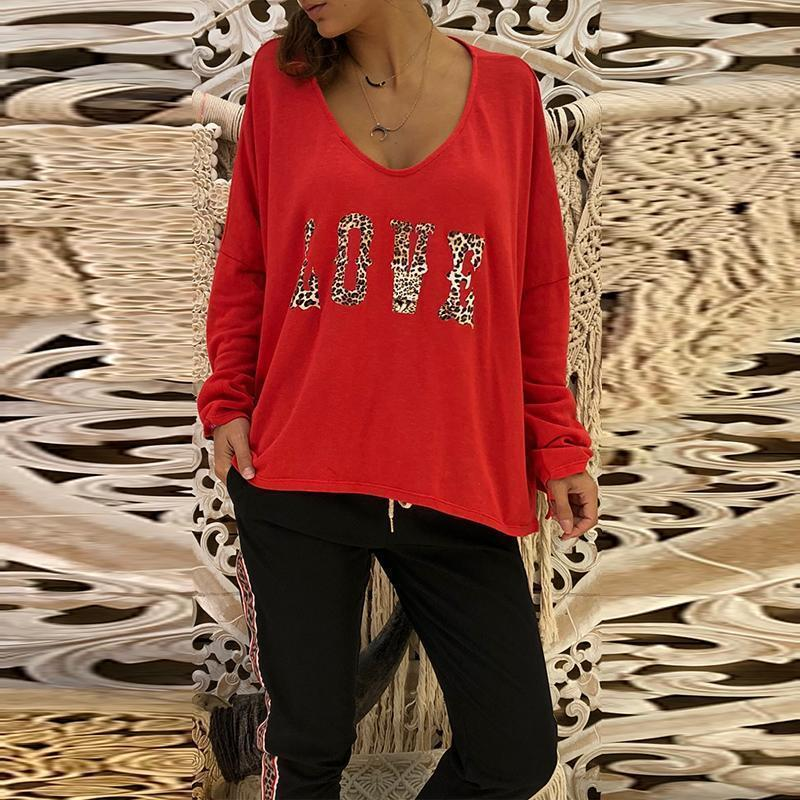 V Neck Long Batwing Sleeve Leopard Printed Letters Casual T-Shirts