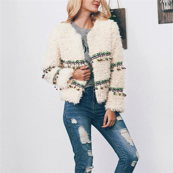 Casual Fashion Sweet Fur Fringe Front Solid Color Long Sleeve Coat