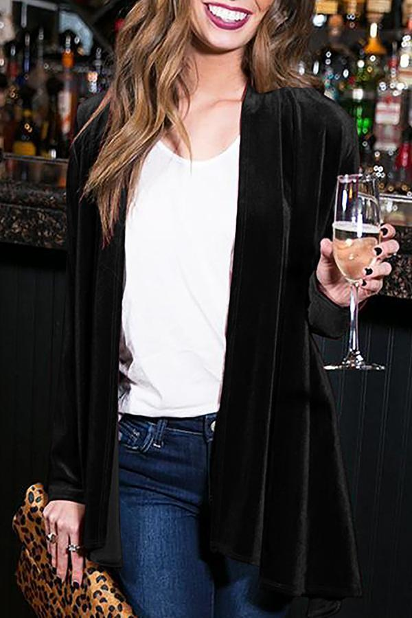 Casual Pure Colour Slim Long Sleeve Cardigan