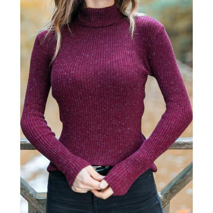Casual High Collar Pure Colour Slim Long Sleeve T-Shirt