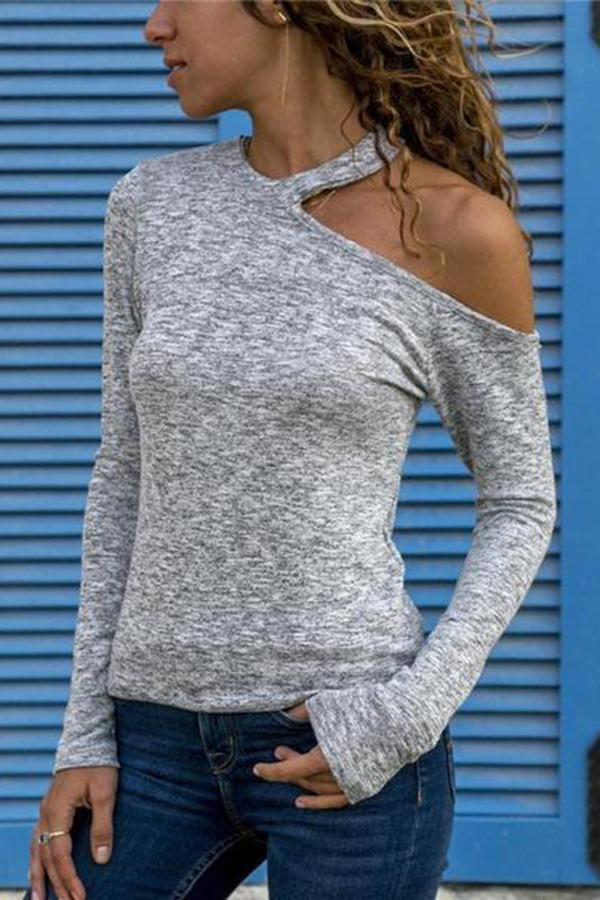Sexy Fashion Pure   Colour Off-Shoulder Top