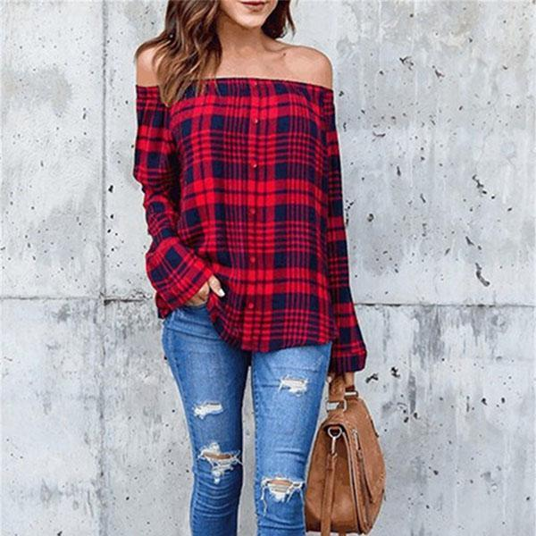 Sexy One Shoulder Grid Long Sleeve Shirts