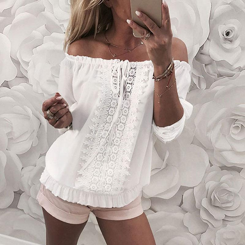Fashion Boat Neck Pure Colour Lace Splicing Long Sleeve T-Shirt