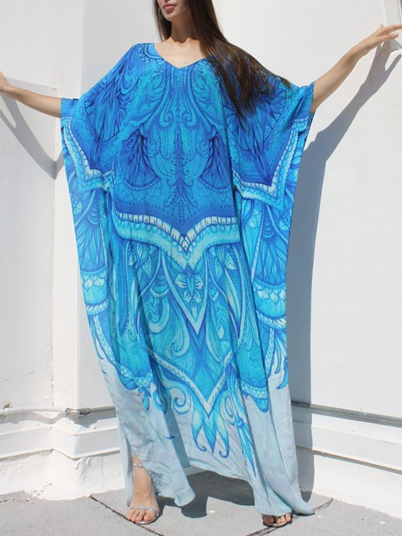 Casual Printed Colour Loose Beach Dresses