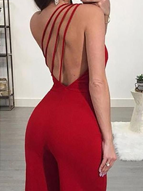 Casual Bare Back Pure Colour Elastic Jumpsuits