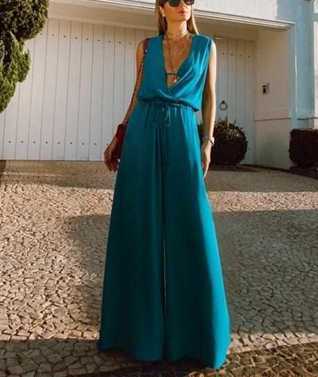 Casual Sexy Deep V   Neck Sleeveless Tunic Slim Pure Color Wide Leg Jumpsuit