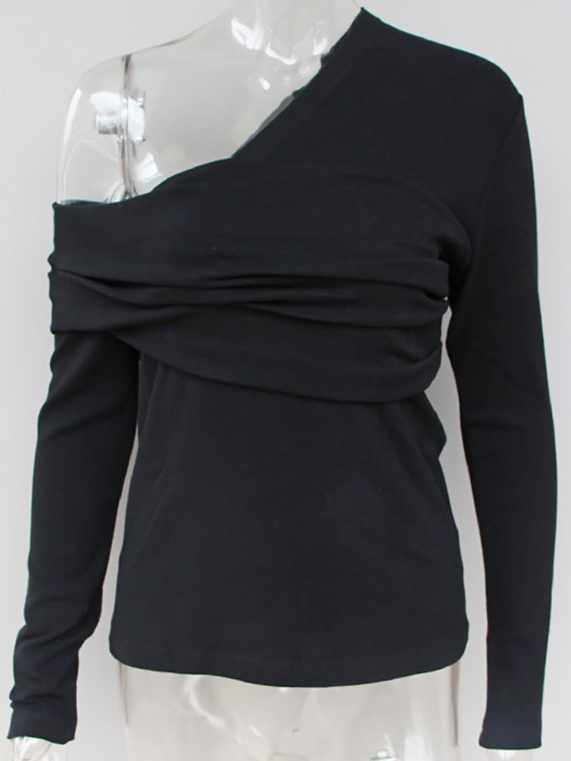 Fashion Asymmetric Pure Colour Sloping Shoulder T-Shirt