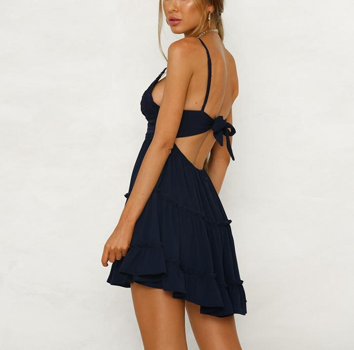Casual Sexy Off The   Shoulder With Backless Lace Splicing Mini Dresses