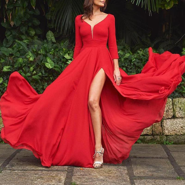 Fashion V Neck Long Sleeve Pure Colour Maxi Dresses