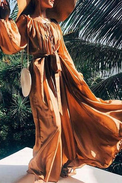 Elegant Long Sleeve Pure Colour Maxi Dresses