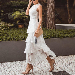 Casual Sexy Lace   Splicing Hollow Out Perspective Maxi Dresses