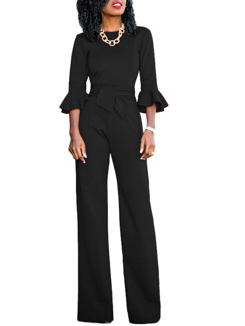 Casual Belted Pure Colour Round Neck Jumpsuits