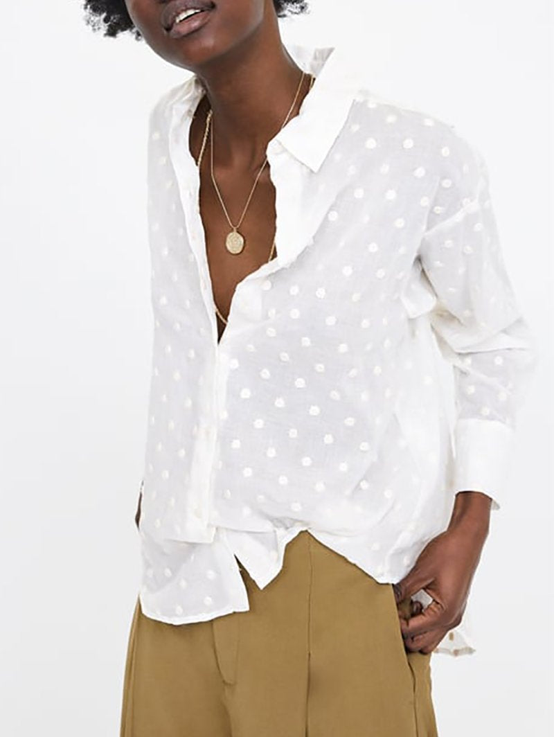 Elegant Polka Dot Long Sleeve Shirt