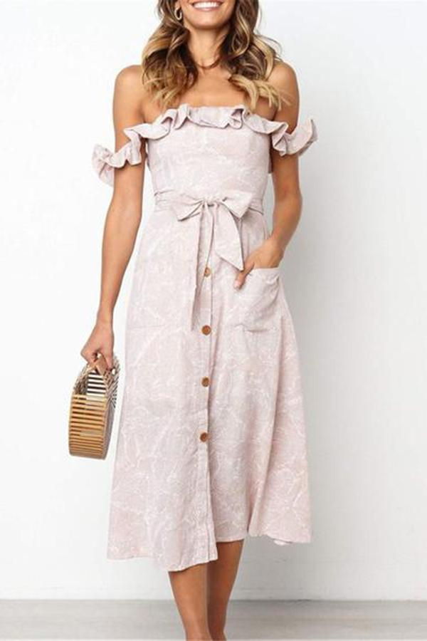 Fashion Floral Printed Flounce Button Vacation Dress