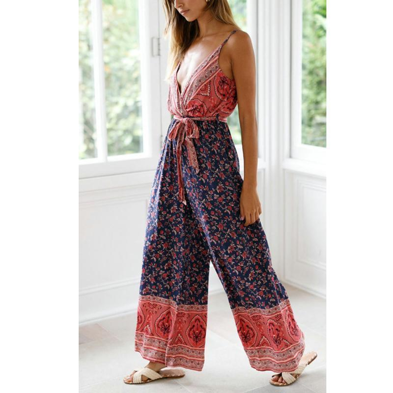 Sexy V-Neck Printed Patchwork Backless Sling Jumpsuits