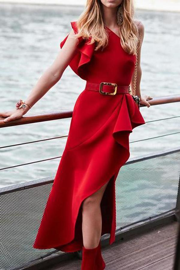 Fashion Ruffled Pure Colour One-Shoulder Dresses