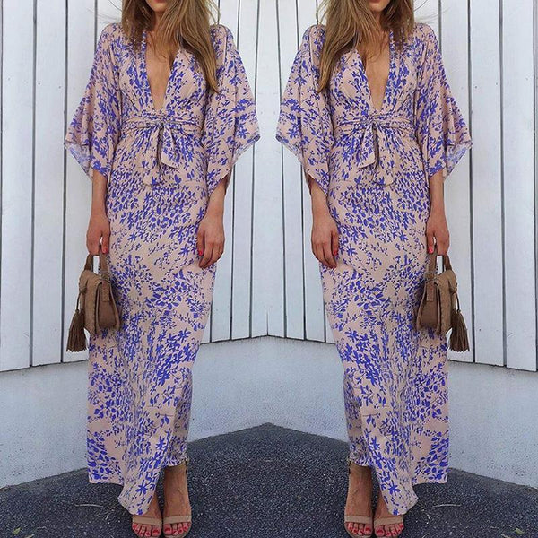 Superphie Fashion V Neck Belted Waist Printed Colour Maxi Dresses