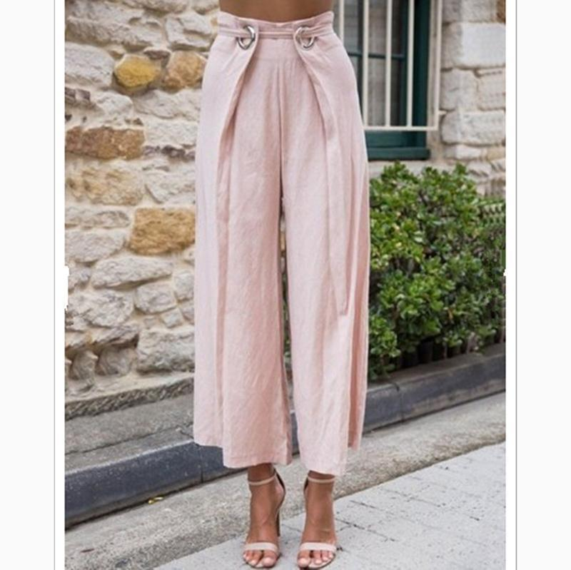 European And American Pure Color Loose Wide Legs High Waist Leisure Trousers