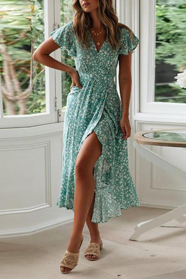 Commuting V Neck Ruffled Floral Pattern Pleated Dress