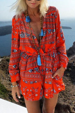 Bohemian V Neck Printed Colour Belted Jumpsuits