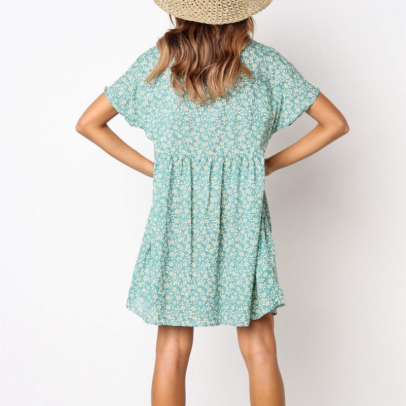 2019 Summer Fashion V-Neck Button Wild Printed Short-Sleeved Dress