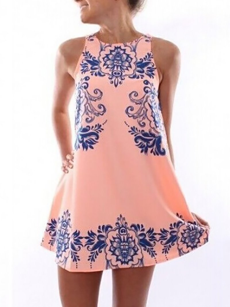 Casual Round Neck Sleeveless Printed Colour Dress