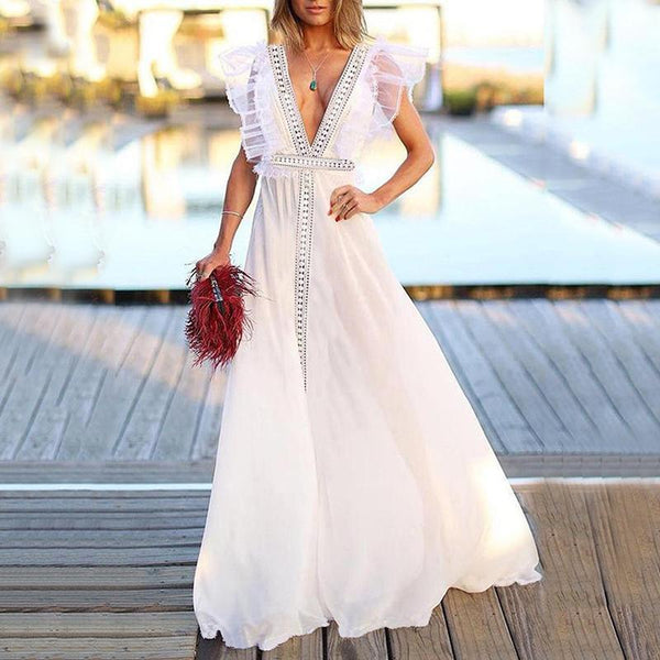 Commuting Deep V Neck Ruffled Bare Back Evening Dress