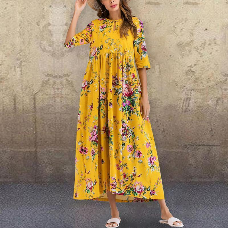 Bohemian Pleated Round Neck Halflong Sleeve Printed Colour Dress
