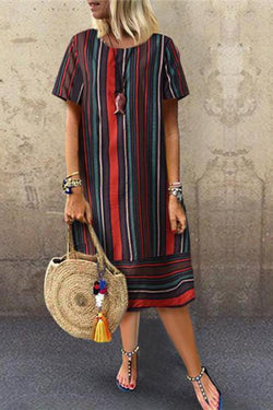 Fashion Cotton And Linen Stripe Printing Casual Dresses