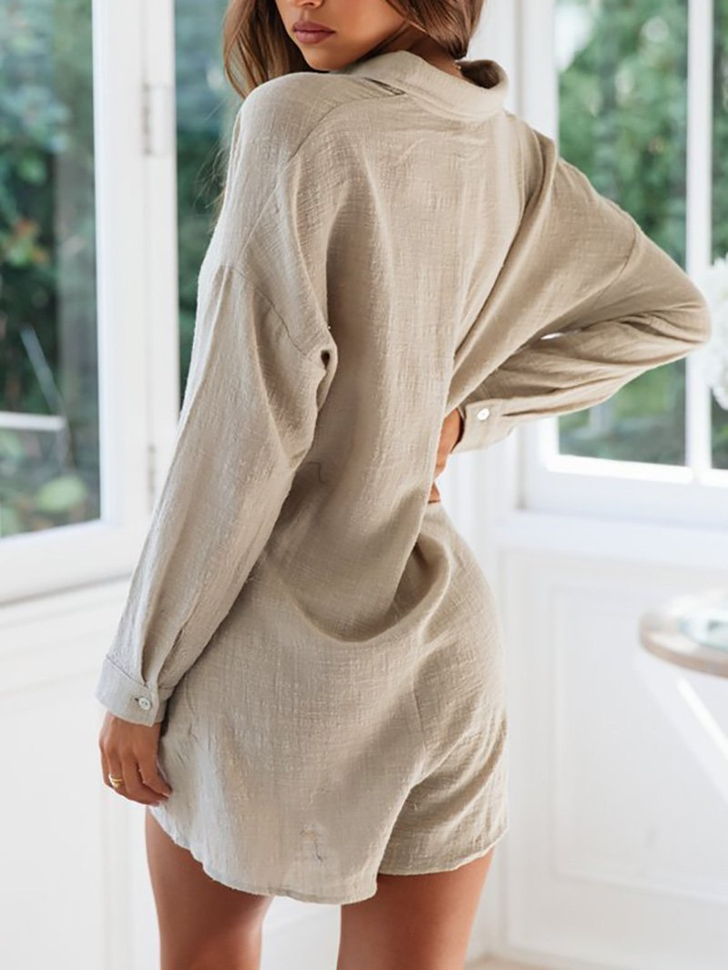 Casual Chiffon Turndown Collar Single-Breasted Long Sleeve Romper