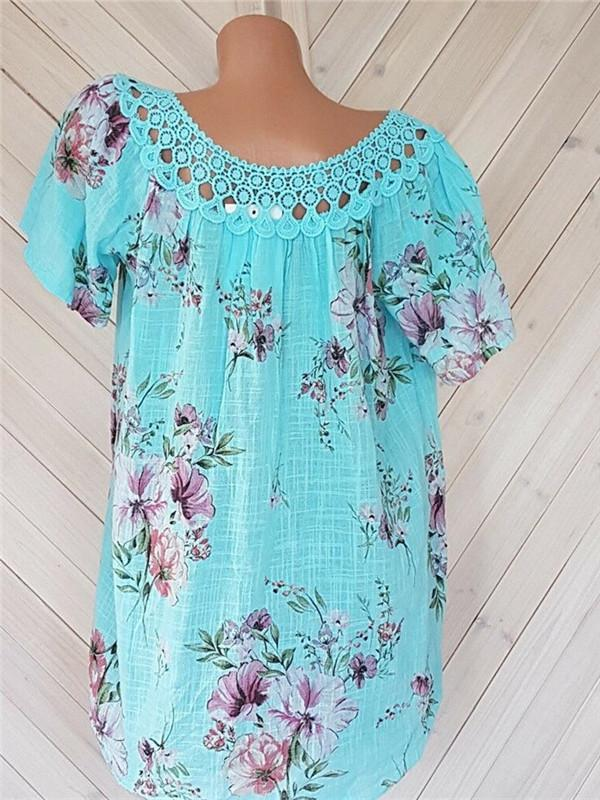 Fashion Lace V-Neck Print Short Sleeve T-Shirts
