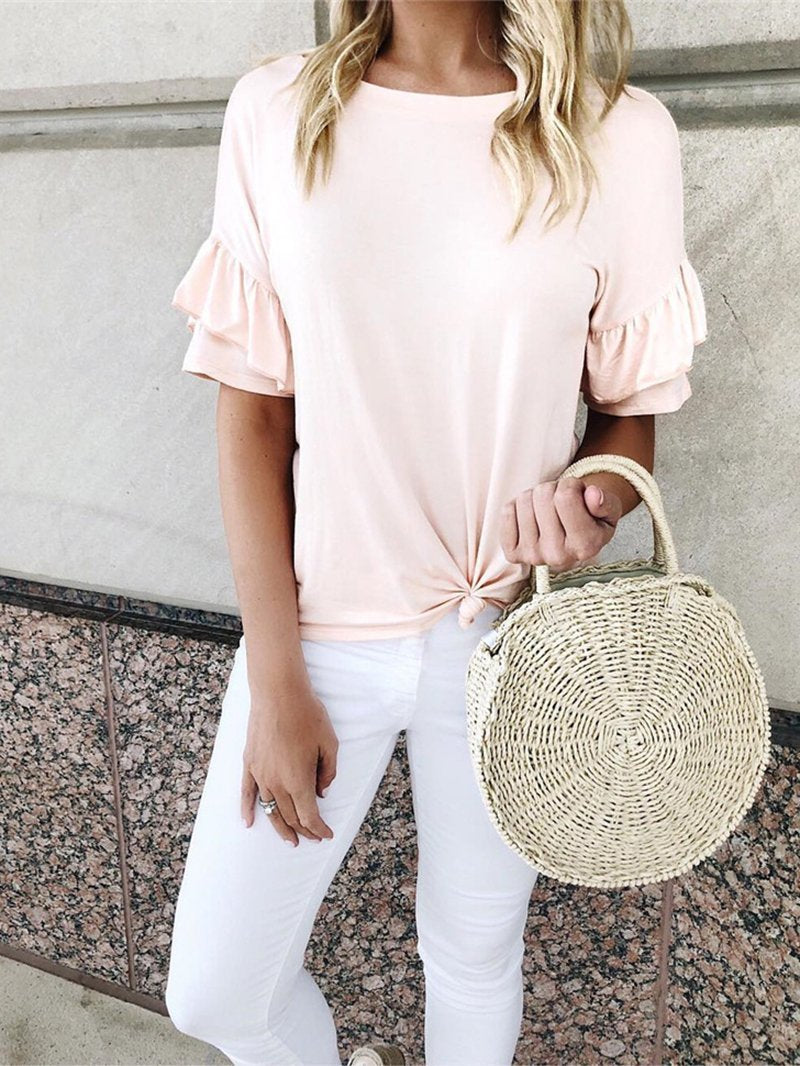 Casual Pure Colour Round Neck Ruffled Pleated T-Shirt