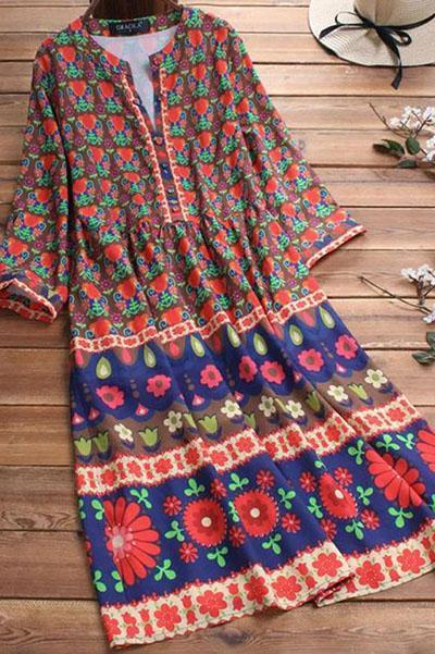 Bohemian Floral Print 3/4 Sleeve Dress For Women