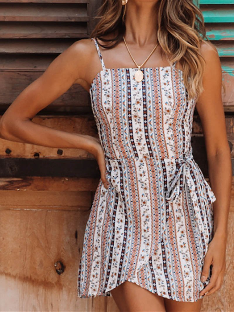 Bohemian Bare Back Sleeveless Off-Shoulder Belted Printed Colour Dress