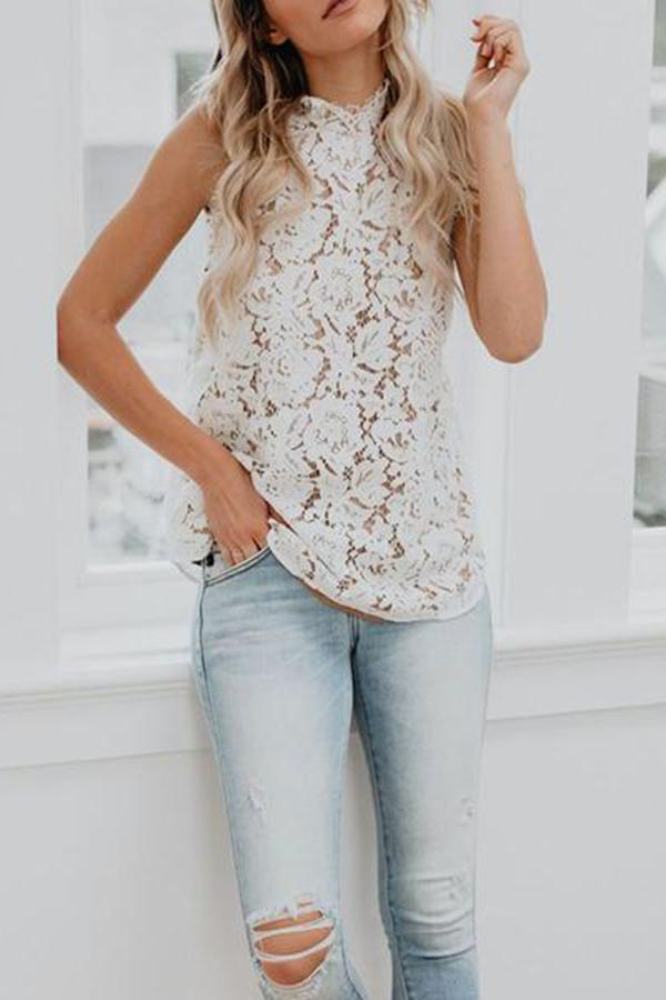 Casual High Collar Sleeveless Lacework Pure Colour Shirt