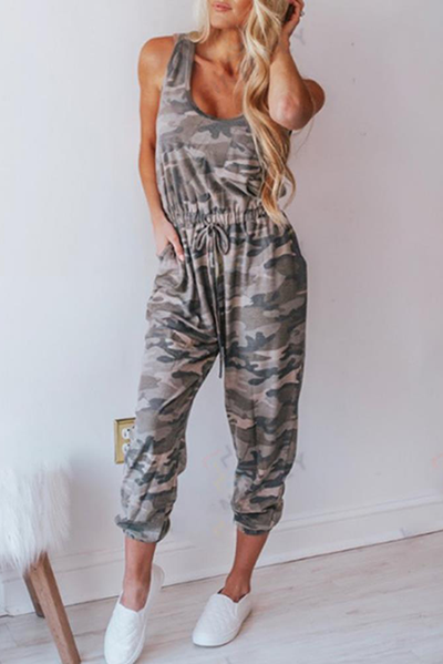 Camouflage Vest Drawing Rope Sleeveless Jumpsuits