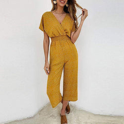 Sexy Wave Point V Collar Short Sleeve High Waist Jumpsuits