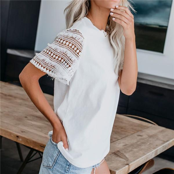 Fashion Lace Stitching Hollow Short Sleeve T Shirt