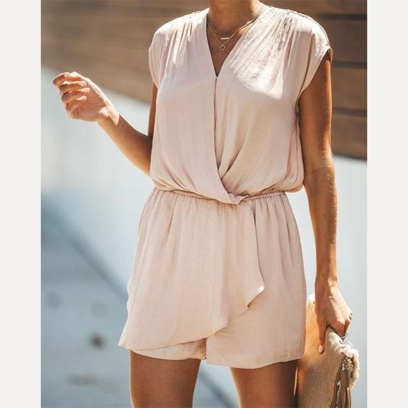 Sexy Pure Color Casual V-Neck Sleeveless Jumpsuit