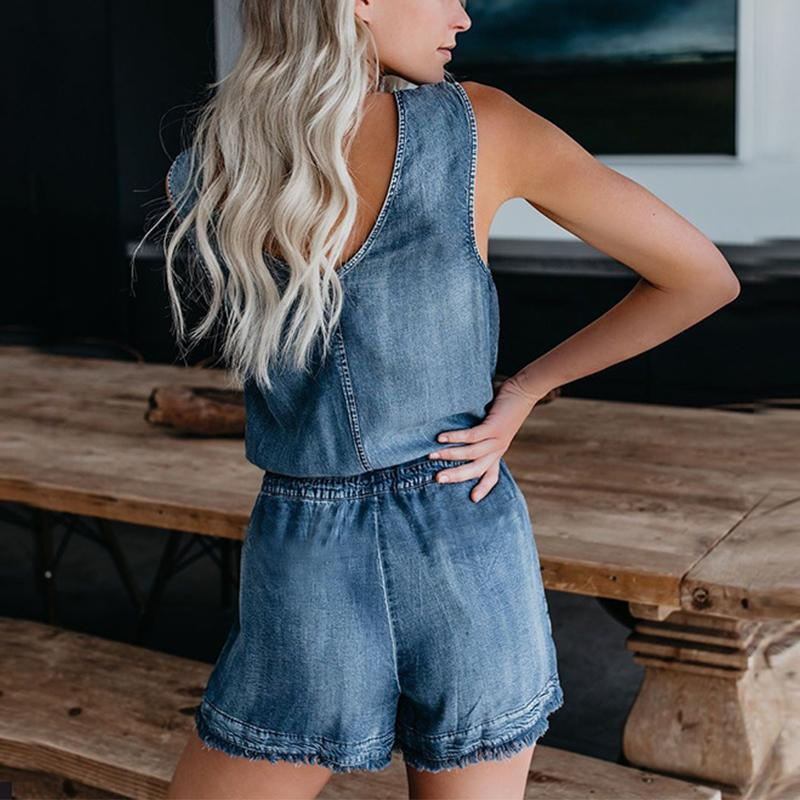 V-Neck Pure Color Sleeveless Jean Jumpsuits