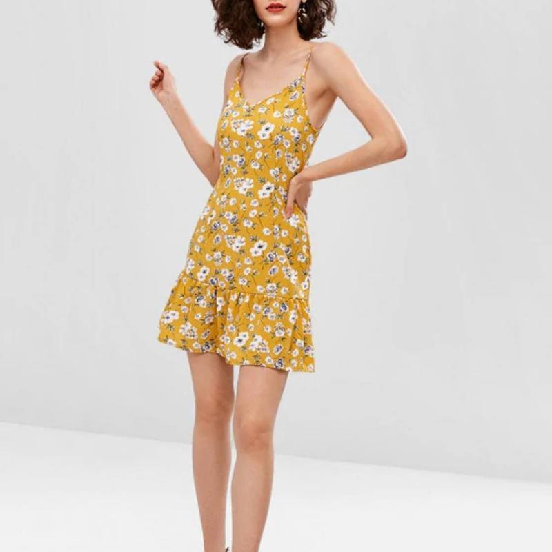 Casual Floral Pattern Ruffled Mini Dress