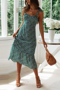 Elegant Printed Colour Belted Splicing Pleated Dress