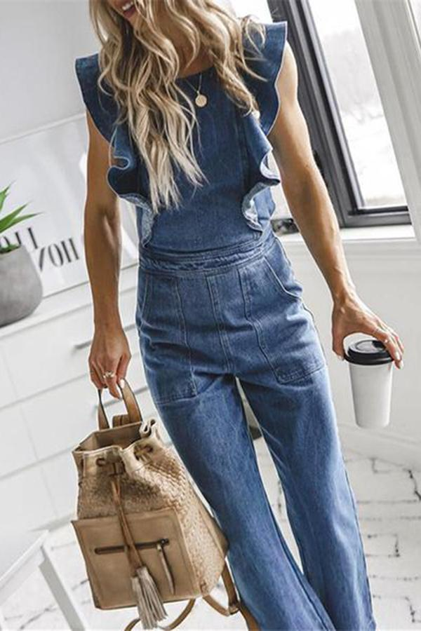 Sexy Lotus Leaf Side Frenulum Denim Jumpsuits