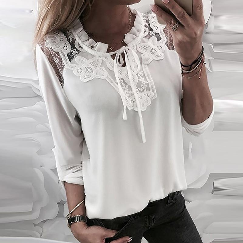 Elegant Lace Splicing Belted Long Sleeve Blouse
